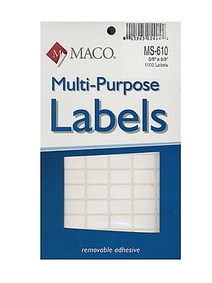 Maco Multi-Purpose Handwrite Labels Rectangular 3/8 In. X 5/8 In. Pack Of 1000 [Pack Of 6] (6PK-MS-610)