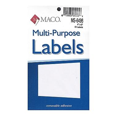 Maco Multi-Purpose Handwrite Labels Rectangular 4 In. X 6 In. Pack Of 40 [Pack Of 6] (6PK-MS-6496)