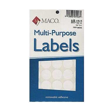 Maco Multi-Purpose Handwrite Labels Round 3/4 In. Pack Of 1000 [Pack Of 6] (6PK-MR-1212)