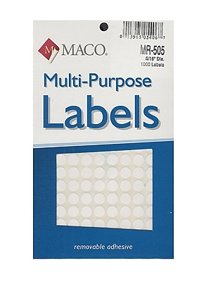 Maco Multi-Purpose Handwrite Labels Round 5/16 In. Pack Of 1000 [Pack Of 6] (6PK-MR-505)