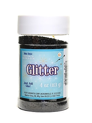 Advantus Corp Glitter Black 4 Oz. Shaker Bottle [Pack Of 6] (6PK-SUL51128)