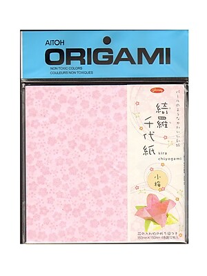 Aitoh Origami Paper 5 7/8 In. X 5 7/8 In. Kira Chiyogami Plum Leaves 12 Sheets (83-0731)
