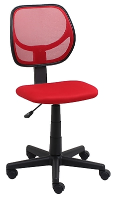 Essentials by OFM Armless Mesh Back and Fabric Task Chair, Red, (E1009-RED)