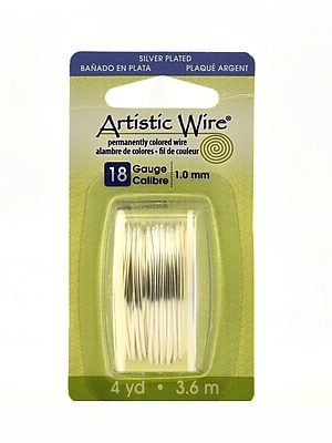 Artistic Wire Dispenser Packs Tarnish Resistant Silver Plate 18 Gauge 4 Yd. [Pack Of 3] (3PK-AWD-18S-10-04YD)