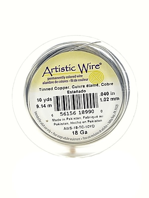 Artistic Wire Spools 10 Yd. Tinned Copper 18 Gauge [Pack Of 4] (4PK-AWS-18-TC-10YD)