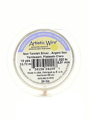 Artistic Wire Spools 15 Yd. Non-Tarnish Silver 24 Gauge, Silver Plated [Pack Of 4] (4PK-AWS-24S-10-15YD)