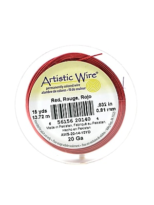 Artistic Wire Spools 15 Yd. Red 20 Gauge [Pack Of 4] (4PK-AWS-20-14-15YD)