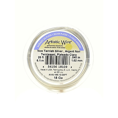 Artistic Wire Spools 20 Ft. Non-Tarnish Silver 18 Gauge, Silver Plated (AWS-18S-10-20FT)