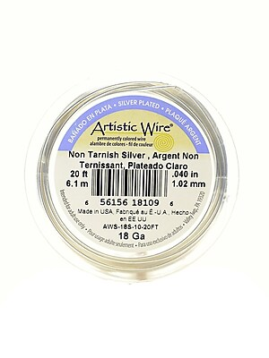 Artistic Wire Spools 20 Ft. Non-Tarnish Silver 18 Gauge, Silver Plated [Pack Of 2] (2PK-AWS-18S-10-20FT)