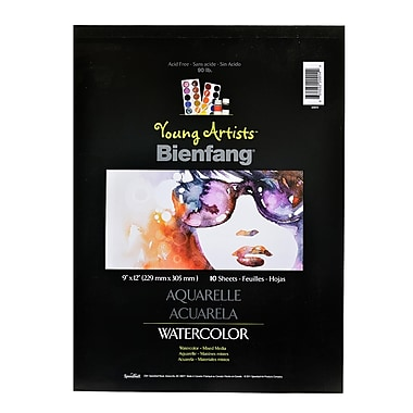 Bienfang Young Artists Watercolor Pad 9 In. X 12 In. 10 Sheets [Pack Of 4] (4PK-220014)