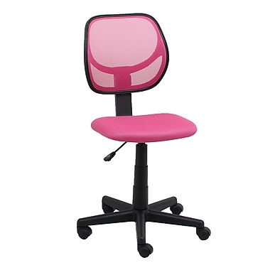 OFM Essentials Fabric Computer and Desk Office Chair, Armless, Pink (845123088456)