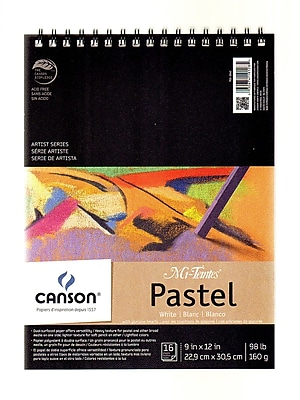 Canson Mi-Teintes Pastel Pad With Interleavings, White, 9 In. x 12 In. (100510867)