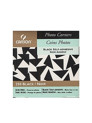 Canson Self-Adhesive Acid-Free Photo Corners, Black, Pack Of 4 (4PK-100510370)