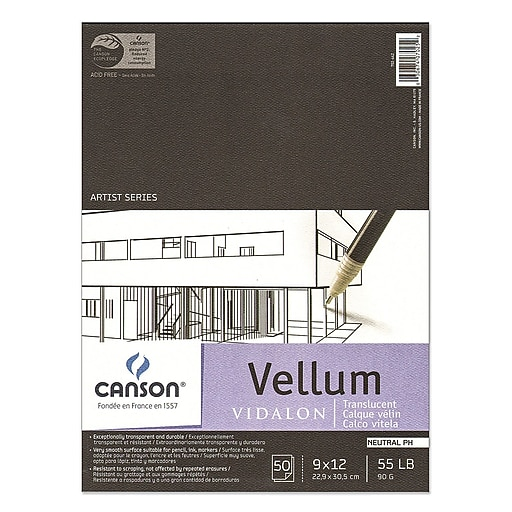 Canson Vidalon Tracing Vellum 9 In. X 12 In. Pad Of 50 Sheets (100510983)