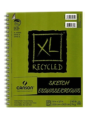 Canson XL Recycled Sketch Pads, 9 In. x 12 In., Pad Of 100 Sheets, WireBound Side, Pack Of 3 (3PK-100510922)