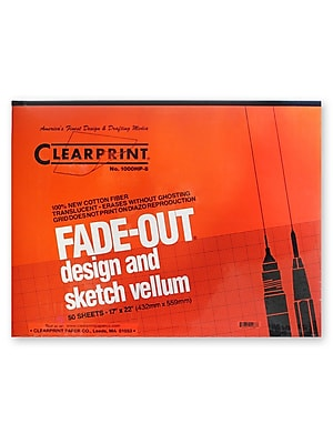 Clearprint Fade-Out Design And Sketch Vellum - Grid Pad 8 X 8 17 In. X 22 In. Pad Of 50 (10002420)