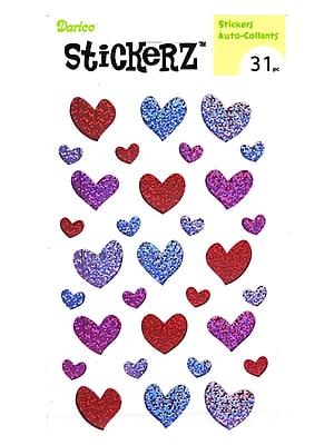 Darice Stickerz Red, Pink, Purple Glitter Hearts [Pack Of 12] (12PK-1214-48)