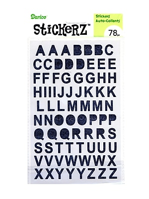 Darice Stickerz Upper Letters Black Glitter [Pack Of 12] (12PK-1214-01)