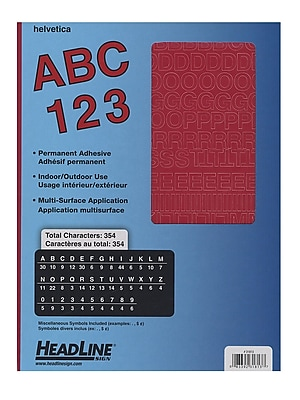 Headline Red Vinyl Stick-On Letters 1/2 In. Helvetica Capitals And Numbers [Pack Of 4] (4PK-31813)