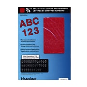 Headline Red Vinyl Stick-On Letters 3/4 In. Helvetica Capitals And Numbers [Pack Of 4] (4PK-31913)
