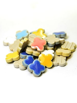 Jennifer'S Mosaics Deco Ceramic Mosaic Tiles Assorted Flowers [Pack Of 4] (4PK-MS719J)