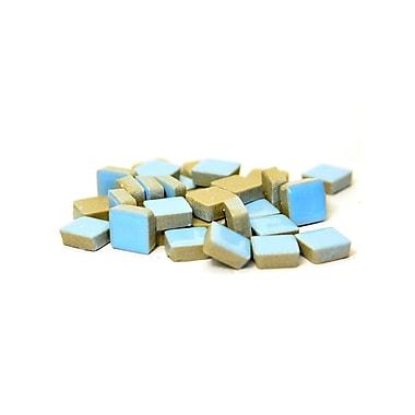 Jennifer'S Mosaics Deco Ceramic Mosaic Tiles Light Blue Square [Pack Of 4] (4PK-MS707J)