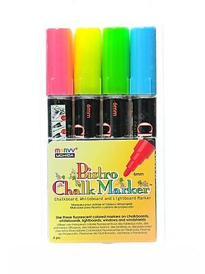 Marvy Uchida Bistro Chalk Marker Sets Broad Point Fl. Red, Fl. Blue, Fl. Green, Fl. Yellow [Pack Of 2] (2PK-480-4A)