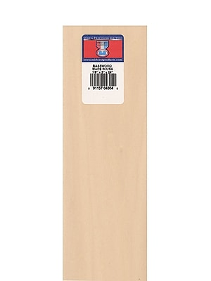 Midwest Basswood Sheets 1/8 In. 3 In. X 24 In. [Pack Of 10] (10PK-4304)