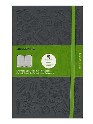 Moleskine Evernote Smart Notebook Squared 5 In. X 8 1/4 In. Slate Grey (8051272892284)