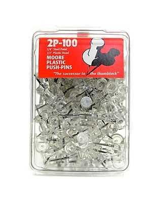 Moore Push Pins Clear Plastic Pack Of 100 [Pack Of 3] (3PK-2P-100-CR)