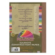 Pacon Peacock Construction Paper Brown 9 In. X 12 In. [Pack Of 4] (4PK-P6709)