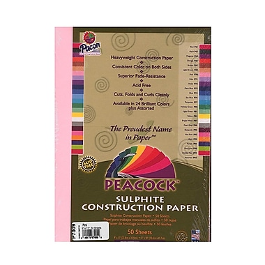 Pacon Peacock Construction Paper Pink 9 In. X 12 In. [Pack Of 6] (6PK-P7009)