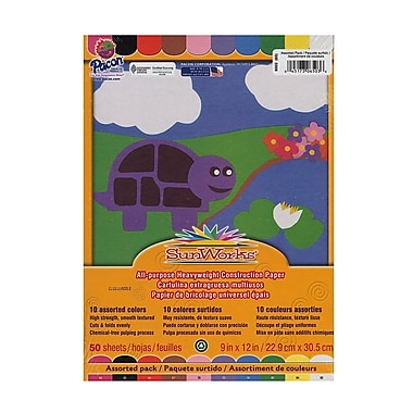 Pacon Sunworks Construction Paper Assorted 9 In. X 12 In. [Pack Of 5] (5PK-6503)