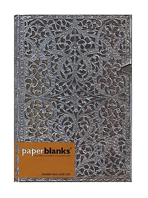 Paperblanks Silver Filigree Journals Natural Midi, 5 In. X 7 In. 240 Pages, Unlined (9781439719305)