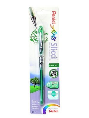 Pentel Slicci Extra Fine Gel Pens Green Each [Pack Of 12] (12PK-BG202-D)