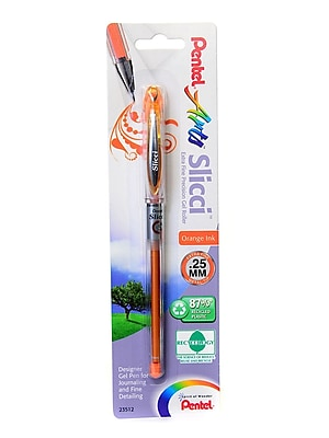 Pentel Slicci Extra Fine Gel Pens Orange Each [Pack Of 12] (12PK-BG202-F1)