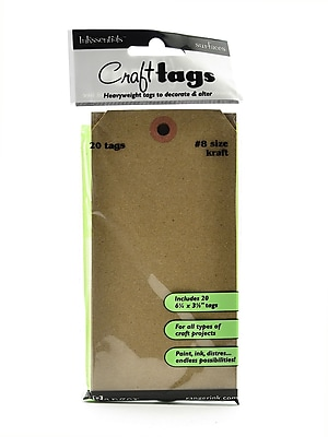 Ranger Inkssentials Craft Tags Kraft #8 6 1/4 In. X 3 1/8 In. Pack Of 20 [Pack Of 4] (4PK-ISC31864)