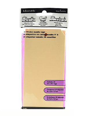 Ranger Inkssentials Craft Tags Manila #8 6 1/4 In. X 3 1/8 In. Pack Of 20 [Pack Of 4] (4PK-ISM27973)
