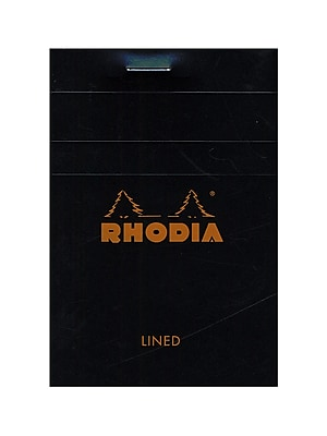 Rhodia Classic French Paper Pads Graph 3 3/8 In. X 4 3/4 In. Black [Pack Of 8] (8PK-122009)