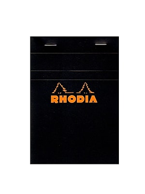 Rhodia Classic French Paper Pads Graph 4 In. X 6 In. Black [Pack Of 8] (8PK-132009)