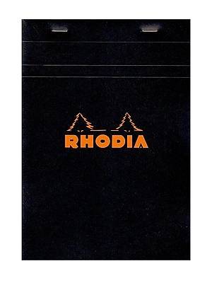 Rhodia Classic French Paper Pads Graph 6 In. X 8 1/4 In. Black [Pack Of 4] (4PK-162009)