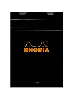 Rhodia Classic French Paper Pads Ruled With Margin 6 In. X 8 1/4 In. Black [Pack Of 4] (4PK-166009)
