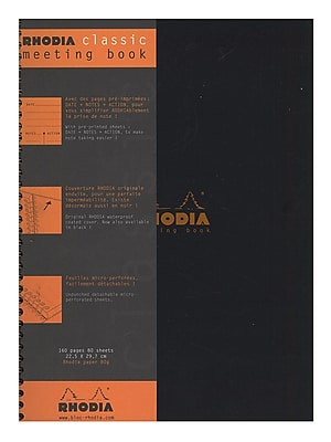 Rhodia Meeting Books 8 1/4 In. X 11 3/4 In. Black 80 Sheets (193409)