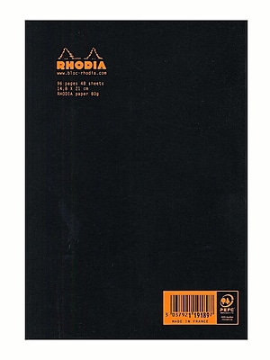 Rhodia Staplebound Notebooks Ruled, Black Cover 6 In. X 8 1/4 In. 48 Sheets [Pack Of 10] (10PK-119189)