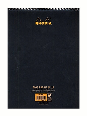 Rhodia Wirebound Notebooks Ruled 8 1/4 In. X 12 1/2 In. Black [Pack Of 5] (5PK-185019)