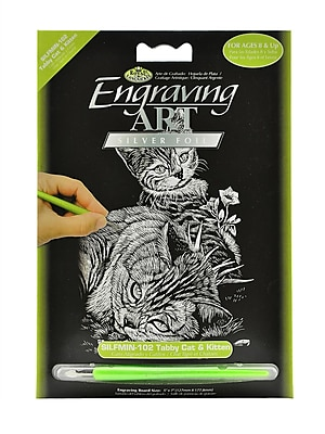 Royal And Langnickel Mini Engraving Art Kits Tabby Cat And Kitten Silver [Pack Of 6] (6PK-SILMIN-102)
