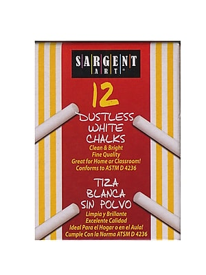 Sargent Art Dustless Chalks White [Pack Of 12] (12PK-66-2012)