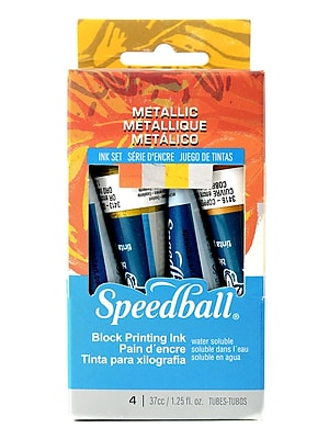 Speedball Blockprinting Metallic Ink Set Pack Of 4 (3473)