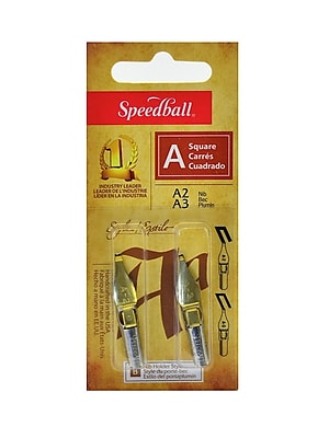 Speedball Lettering And Drawing Square Pen Nibs A Style A-2/A-3 Pack Of 2 [Pack Of 6] (6PK-31003)