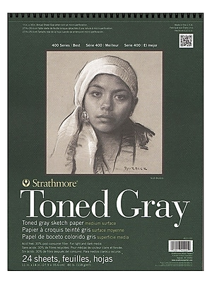 Strathmore 400 Series Toned Sketch Paper Pads (Wirebound) Gray 11 In. X 14 In. 24 Sheets [Pack Of 2] (2PK-412-111)